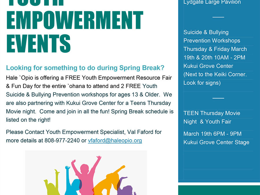 Spring Break Youth Empowerment Events