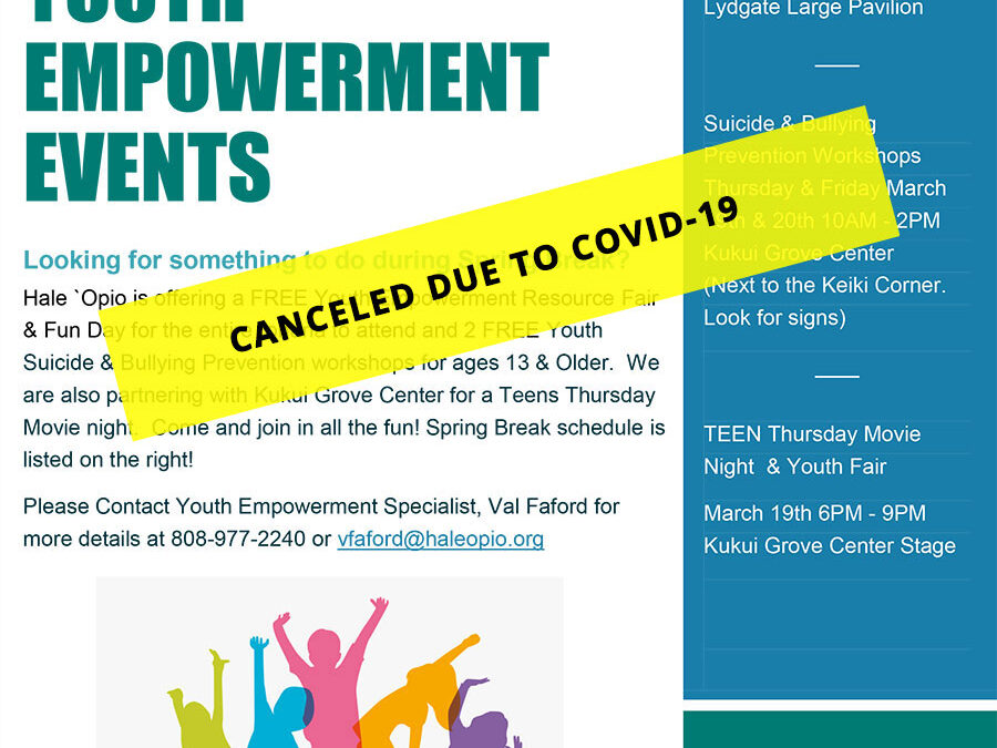Spring Break Youth Empowerment Events CANCELED DUE TO COVID-19