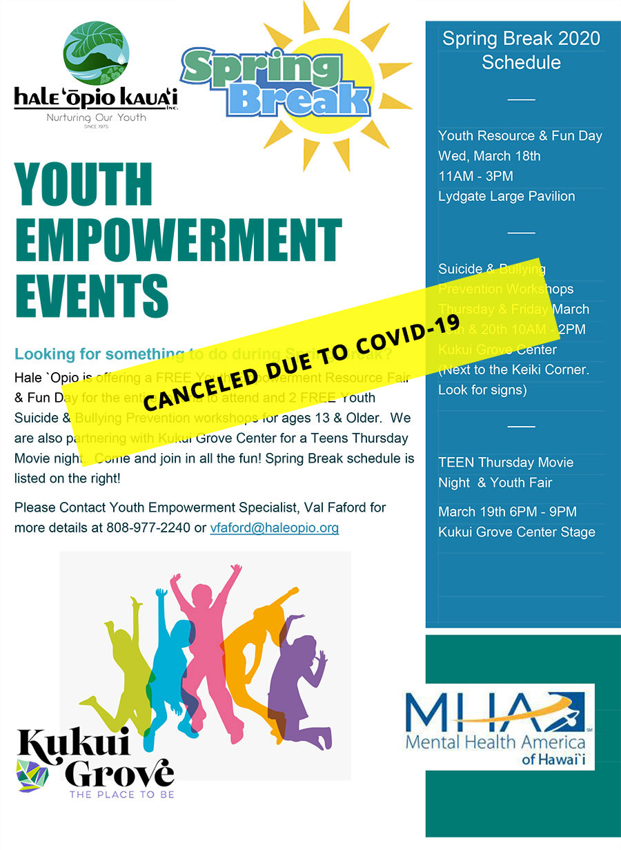 Canceled Spring Break Youth Empowerment Events Flyer