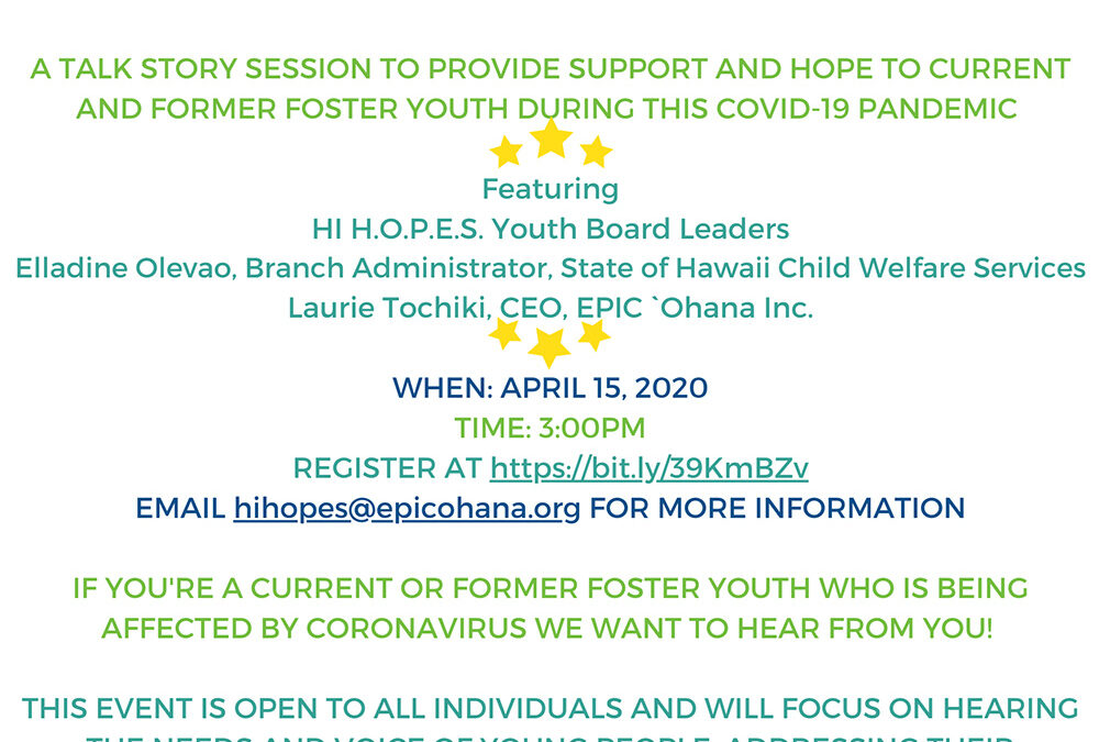 HI H.O.P.E.S. Virtual Town Hall, April 15, 2020