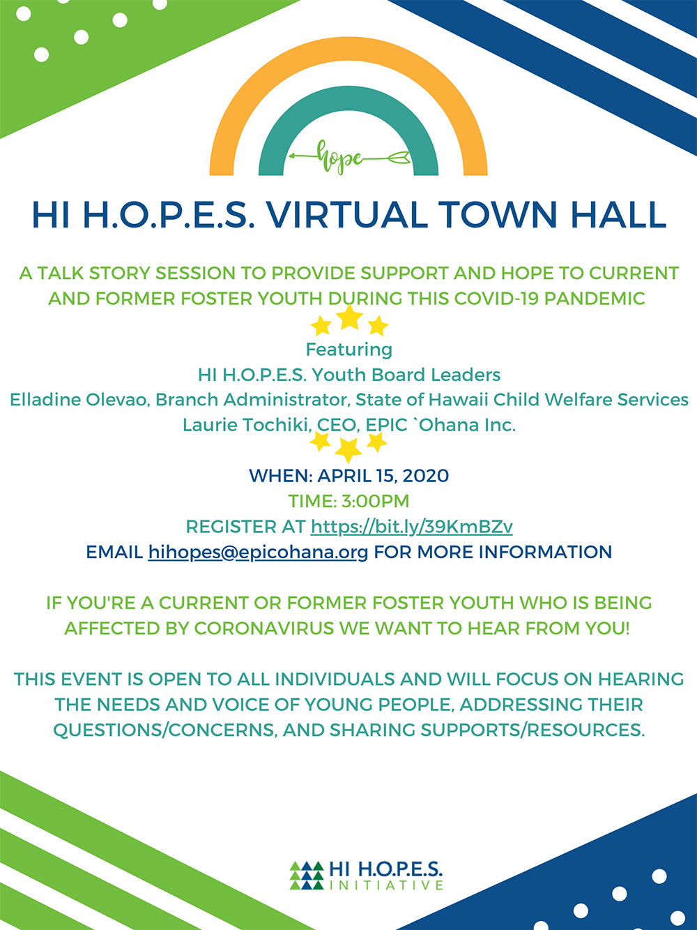 HI H.O.P.E.S. Virtual Town Hall, April 15, 2020 Flyer